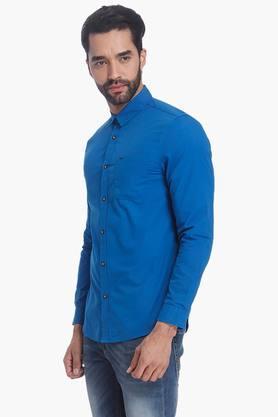 Mens Slim Fit Full Sleeves Casual Solid Shirt