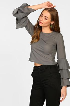 Womens Round Neck Solid Blouse