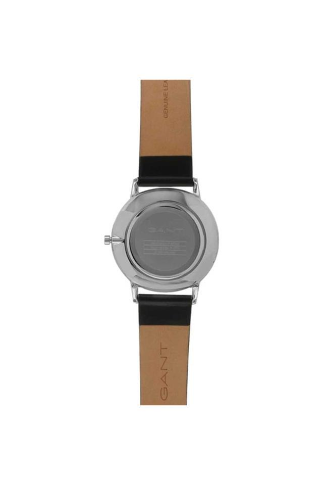 Mens Black Dial Leather Analogue Watch - GT039001