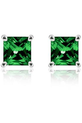 MAHI92.5 Sterling Silver Green Mini Princess Stud Earrings Made With Swarovski Zirconia By Mahi ER3102001Gre