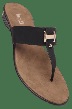 INC.5Womens Black Daily Wear Slipon Flat Sandal