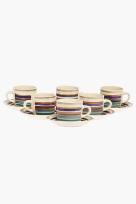 HARRISA Kitchen Stripe Tea Cups And Saucer Set Of 6