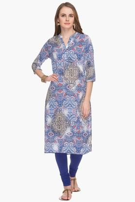 HAUTE CURRY Womens Mandarin Neck Printed Kurta - 201533234
