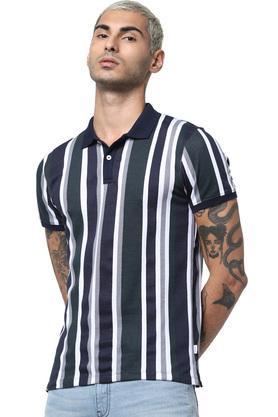 Mens Slim Fit Stripes Polo T-Shirt