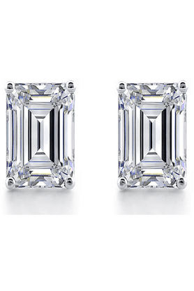 MAHI 92.5 Sterling Silver White Classic Baguette Stud Earrings Made With Swarovski Zirconia By Mahi ER3102004Whi