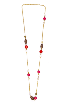 TRIBAL ZONE Golden Chain With Pink, Purple And White Beads