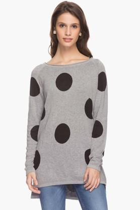 ONLY Womens Boat Neck Polka Dot Pullover