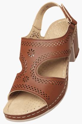 HAUTE CURRYWomens Daily Wear Velcro Closure Heel Sandal