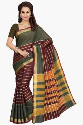 ISHIN Womens Stripe Cotton Silk Saree