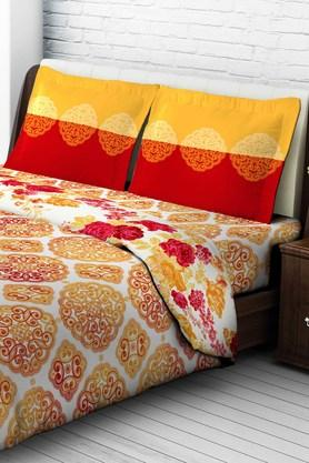 Tomatillo Nature Pure Cotton Double Bedsheet With 2 Pillow Covers - Orange