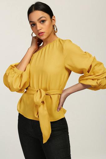 Womens One Shoulder Neck Solid Top