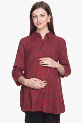 NINE MATERNITY Womens Comfort Fit Check Shirt