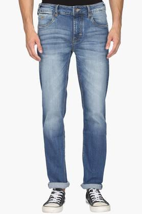 FLYING MACHINE Mens 5 Pocket Tapered Fit Heavy Wash Jeans (Micheal Fit)