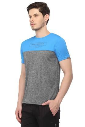 Mens Round Neck Colour Block Sports T-Shirt