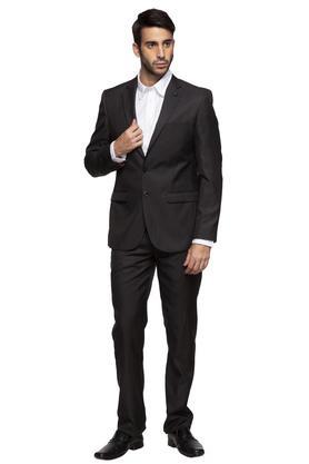 Mens Notched Lapel Solid 2 Piece Suit