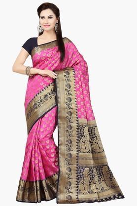 ISHINWomens Tussar Silk Brocade Banarasi Saree - 201628782