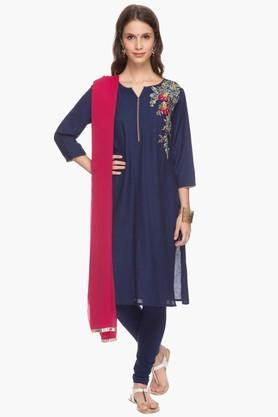 IMARA Womens Embroidered Churidar Suit - 201430607