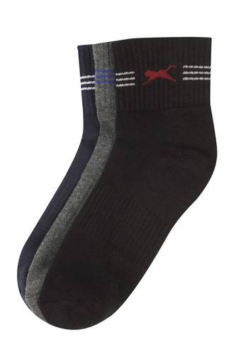 Mens Solid and Slub Knitted Socks - Pack of 3