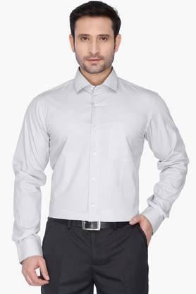 Wills Life Style Formal Shirts (Men's) - Mens Regular Collar Herringbone Shirt