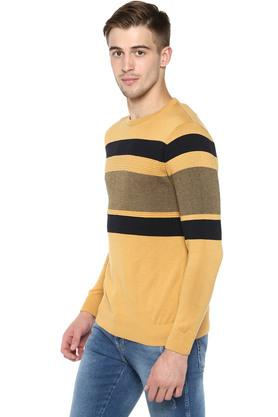 Mens Round Neck Stripe Knitted Pullover