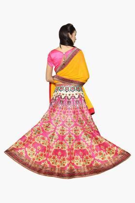 Womens Semi Stitched Round Neck Printed Lehenga Choli