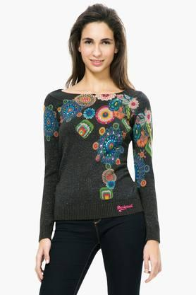 DESIGUAL Womens Boat Neck Printed Embellished Sweater