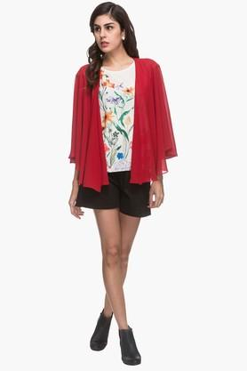 Womens Open Front Solid Asymmetrical Shrug