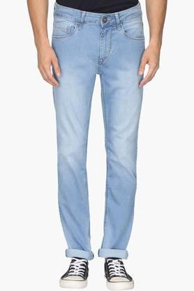 FLYING MACHINE Mens Tapered Fit 5 Pocket Mild Wash Jeans (Micheal Fit)