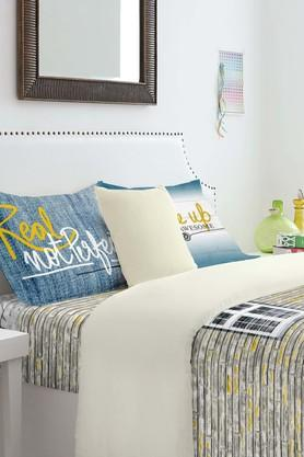 SPACES Cotton Stripe Single Bedsheet With Pillow Cover