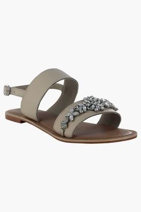 STEVE MADDENWomens Ethnic Ankle Buckle Closure Flat Sandals