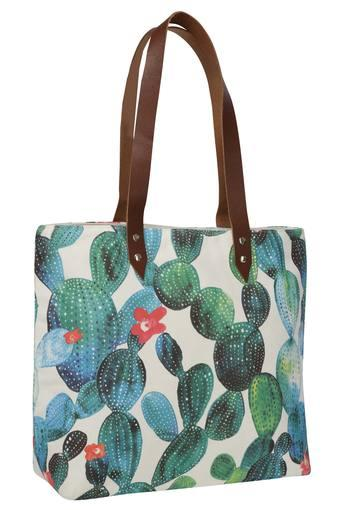 Square Succulent Print Shopping Bag