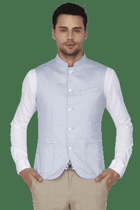 BLACKBERRYSMens Slim Fit Solid Sleeveless Nehru Jacket