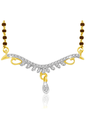 SPARKLES 18Kt Gold Mangalsutra With Diamond Pendant Along With Gold Plated Silver Chain And Black - 7499777_9999