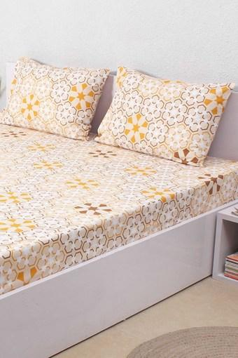 The Wily Kaleidoscope 100% Cotton Double Bed Sheet & 2 Pillow Covers - Beige