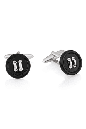 SHAZE BLACK BUTTON CUFFLINKS