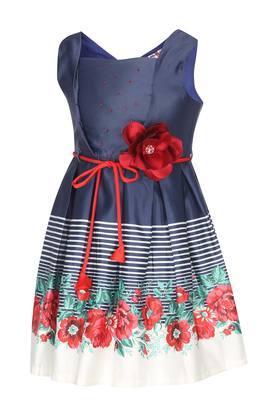 Girls Square Neck Floral Print Flared Dress