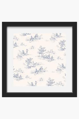 CRUDE AREA White And Blue Animal Jouy Printed Art Print (Medium)  ...