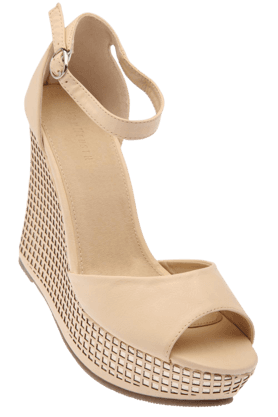 VAN HEUSEN Womens Cream Party Wear Wedge Sandal