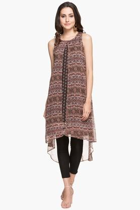 RS BY ROCKY STAR Womens Round Neck Printed High Low Kurta