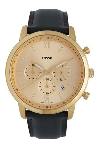 Mens Beige Dial Leather Chronograph Watch - FS5580I