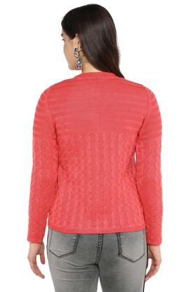 Womens Band Collar Knitted Cardigan