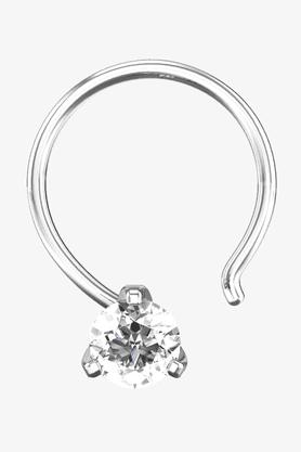 VELVETCASEWomens 18 Karat White Gold Nose Ring (Free Diamond Pendant) - 201064990