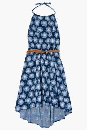 Girls Regular Fit Halter Neck Printed Asymmetric Dress