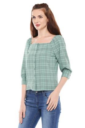 Womens Square Neck Checked Top