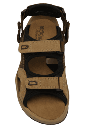 Mens Leather Velcro Closure Casual Sandal