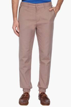 VETTORIO FRATINI Mens 4 Pocket Solid Linen Look Trousers