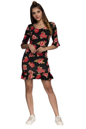 Womens Round Neck Floral Print Bodycon Dress