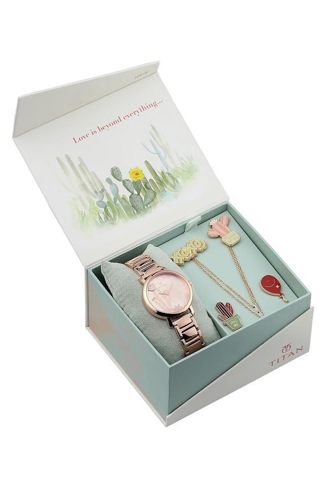 Womens Valentines Day Collection Rose Gold Dial Metallic Analogue Watch - 95102WM01F