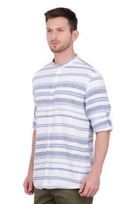 Mens Mandarin Collar Striped Shirt