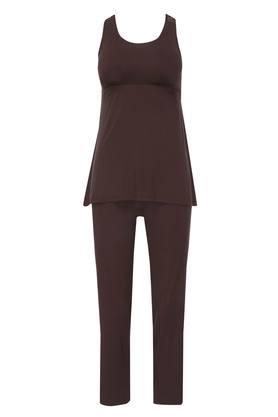 Womens Round Neck Solid Top and Pants Set